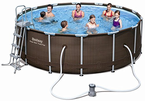 Bestway Power Steel Rattan Frame Pool Set mit Filterpumpe + Zubehör, 366x100cm -