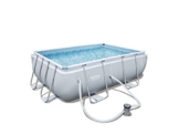 Bestway Power Steel Rectangular Frame Pool Set, hellgrau, mit Filterpumpe, 282x196x84cm -