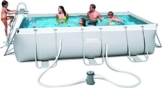 Bestway Power Steel Rectangular Frame Pool Set, hellgrau, mit Filterpumpe + Zubehör, 404 X 201 X 100cm -