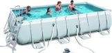Bestway Power Steel Rectangular Frame Pool Set, hellgrau, mit Filterpumpe + Zubehör, 549x274x122cm -