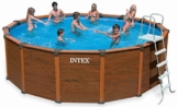 Intex Aufstellpool Wood Frame Pool Set, TÜV/GS, Braun, Ø 478 x 124 cm - 1